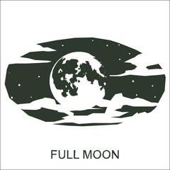 Vector silhouette full moon