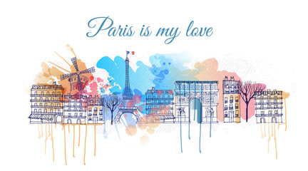 watercolor Vector background of paris city