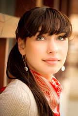 Beautiful girl with kerchief on neck