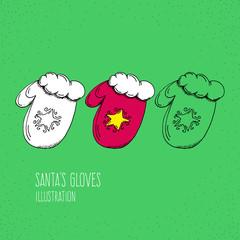 Cartoon Style Santa's Glove Hand Drawn Illustration Icon