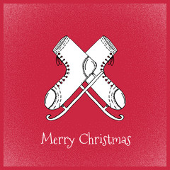 Cartoon Style Ice Skates Socks Hand Drawn Greetings Card