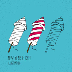 Cartoon Style Fireworks Rocket Hand Drawn Illustration