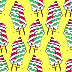 Cartoon Style Hand Drawn Fireworks Rockets Seamless Pattern