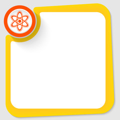 Red circle and science symbol and yellow frame for your text