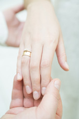wedding ceremony, wedding rings and hands