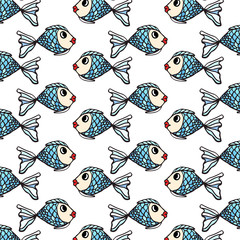 Fish hand-drawn pattern on transparent background