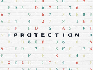 Safety concept: Protection on wall background