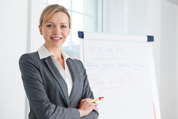 Portrait Of Businesswoamn Standing By Flipchart