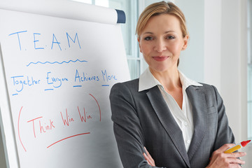 Portrait Of Businesswoman Standing By Flipchart