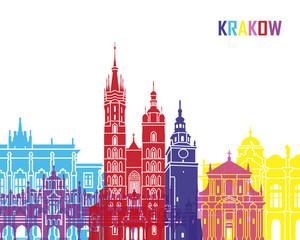 Fototapete - Krakow skyline pop