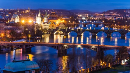 view from letna park over prague at night