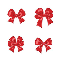 Red shiny gift bows