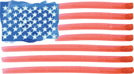 Abstract watercolor flag of the United States of America