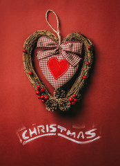 Chistmas Heart over a Red Background