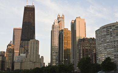 Fototapete - Downtown Chicago from the north side