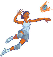 Girl Spiking Flaming Volleyball Vector Cartoon Illustration