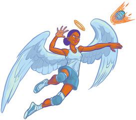 Girl Angel Mascot Spiking Volleyball Vector Cartoon Illustration