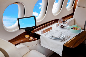 Business Jet airplane interior