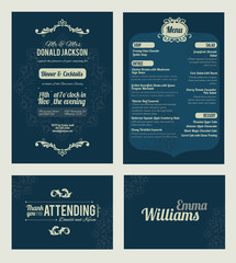 Vector Elegant Blue Dinner Coctails Party Invitation Set. Invite, menu, thank you, place card, event collection