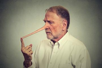Sad man with long nose worried