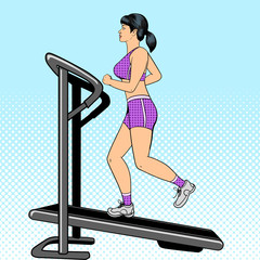 Girl on treadmill pop art style vector