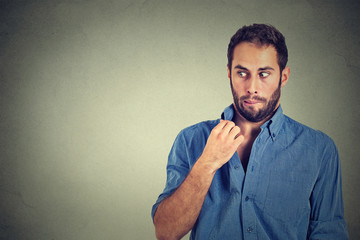 man opening shirt to vent, it's hot, unpleasant, Awkward Situation, Embarrassment