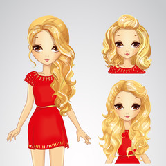 Girl In Red Dress And Collection Of Hairstyles