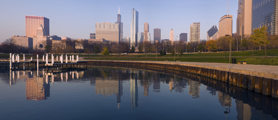 Fototapete - Morning panorama of Chicago