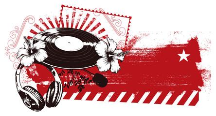 grunge red banner with music spirit