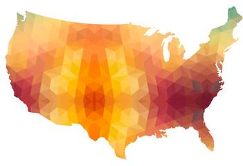 USA Mainland Map of Polygonal Style