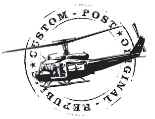 vintage army seal with helicopter in combat
