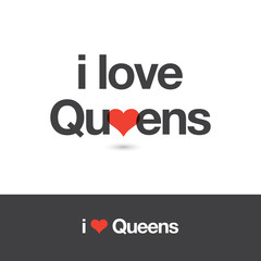 I love Queens. Borough of New York city. Editable vector logo design.