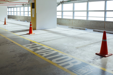 Empty car parking line and red cone with walk way, can use as ba