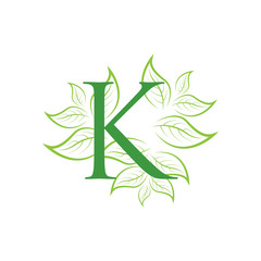 letter leaf green logo icon