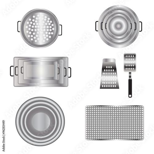 "Kitchen Set Top View: ""Kitchen Equipment Top View Set 13 For Interior , Vector"