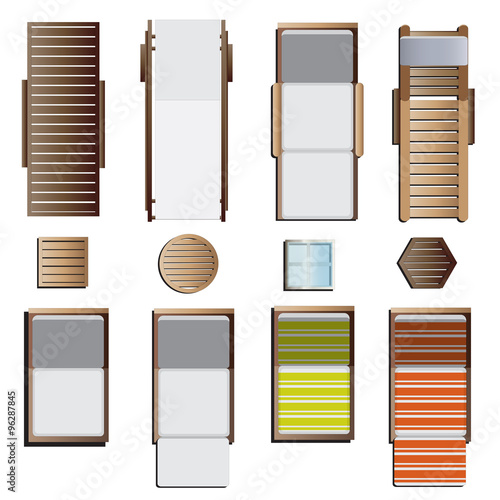 Outdoor Furniture Sunbeds Set Top View 8 For Landscape Design Vector Illustration