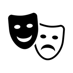 Drama and comedy acting masks flat icon