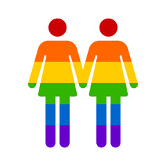 Gay marriage rainbow lesbian flat icon for apps and websites