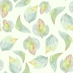 Background with watercolor leaves 1