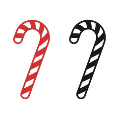 Christmas peppermint candy cane with stripes flat icon for apps and websites