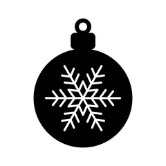 Christmas tree ornament with snowflake flat icon for apps and websites