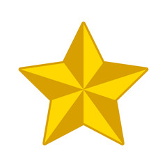 3D gold star decoration flat icon for apps and websites