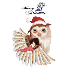 Illustration: The Girl and The Owl - Merry Christmas Card. The Girl Sleeps in the Feathers of The Big Owl with a Christmas Hat. Realistic Fantastic Cartoon Style Creative Idea / Christmas Card Design.