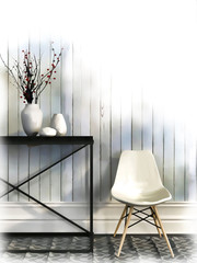 Sketch of white chair and black table against the wall of white