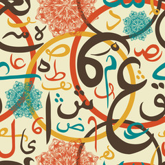 Colorful seamless pattern ornament Arabic calligraphy of text Eid Mubarak concept for muslim community festival Eid Al Fitr(Eid Mubarak)(Translation: thank god)