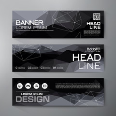 Banners set for business modern design. Polygonal geometric back