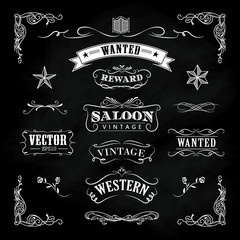 Western hand drawn blackboard banners vintage badge vector