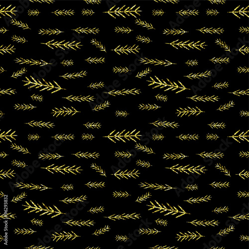 Black Shiny Golden Seamless Simple Graphics Pattern Tile Christmas Sparkle Glitter Background With Pine