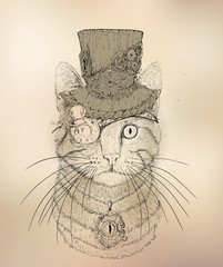 Steampunk Cat Vintage Style