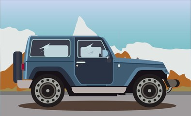 The car on a background of snowy mountains. Vector illustration.